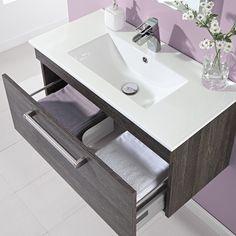 800mm Wall Hung Single Drawer Vanity Unit Ebony Brown  - Image 3