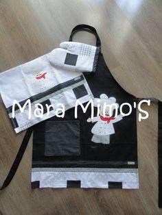 Kit cozinha em patchwork,avental em brim e aplique ,pano de prato e luva ,  Esse em preto e branco com apliqué de cozinheiro.  consulte cores e estampas R$ 80,00