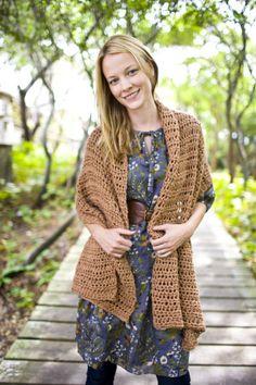 Afternoon Breeze Shawl free crochet pattern from Lion Brand Yarn.