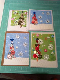 Button trees & snowflakes Christmas card