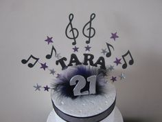 Music Note Musical Name And Age Cake Topper Made In Your Colours