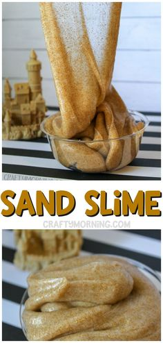 Sand slime recipe for the kids to make this summer! Fun after going to the beach. diy sand slime kids activity summer activities  pretend play. #slime #slimerecipes #sandslime #sandslimerecipes #craftymorning