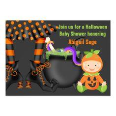 Cute Halloween Neutral Baby Shower Invitation