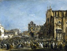Francesco Guardi – Upton House. Pope Pius VI Blessing the People of Venice in the Campo San Zanipolo in 1782 (1782)