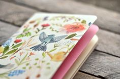 Eco notebook with garden watercolor illustration (small size)