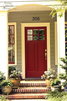 Red front door (color is Wild Currant by Benjamin Moore).to our front door. Exterior Paint Colors, Exterior House Colors, Paint Colors For Home, Exterior Design, Paint Colours, The Doors, Entry Doors, Front Entry, Unique Front Doors