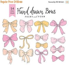 Bow cliparts, hand drawn bow clipart, baby girl, ribbon graphic for scrapbooking, parties and crafts.  WHATS INCLUDED 14 high quality PNG files on transparent background - 300 dpi, approximately 5 at their widest points  INSTANT DOWNLOAD These files are available for Instant Download. Once your payment is confirmed files will be available to download.  TERMS OF USE Products are for personal and small commercial use.  You may: -use them for personal projects (invites, photo cards…