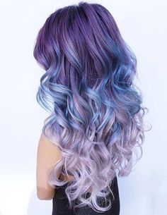 Dusty, Dark Purple to Blue and Light Purple Ombre Hair What better way to give yourself a brand new hair look than by changing the color entirely. These 25 amazing blue and purple hair looks are perfect! Curls Haircut, Neon Hair Color, Unicorn Hair Color, Galaxy Hair Color, Purple Ombre, Pastel Purple, Violet Ombre, Lilac, Blue Purple Hair
