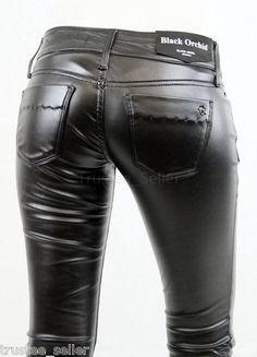 BLACK ORCHID Stretch faux leather Tight Leggings Biker Pants Jewel Jegging Jeans | eBay