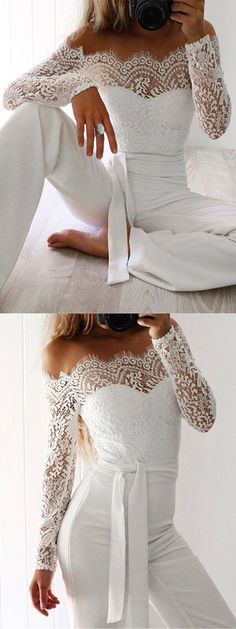 Off Shoulder Tie Waist Lace Jumpsuit. - Off Shoulder Tie Waist Lace Jumpsuit. Off Shoulder Tie Waist Lace Jumpsuit. Off Shoulder Tie Waist - Shower Outfits, Shower Dresses, Wedding Rompers, White Lace Jumpsuit, White Long Sleeve Jumpsuit, White Lace Blouse, Jumpsuit Elegante, Confirmation Dresses, Wedding Jumpsuit