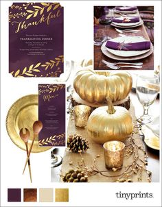 Elegant Thanksgiving Dinner Party Inspiration Board. We are in love with this eggplant, gold leaf, and dark wood color scheme. Festive indeed!