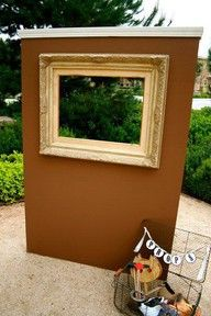 Photo Booth!! Use large cardboard, cut out middle, use woodland masks and thrift store clothes