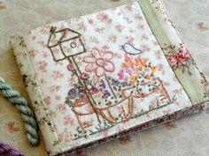 Bluebird Birdhouse Needlebook Spring Garden Hand Embroidery