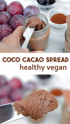 How to make easy chocolate spread with coconut milk and cacao powder. Can be made with either cacao or cocoa powder. Dairy free and vegan simple recipe #vegan #chocolate #chocolatespread #veganrecipe
