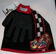 NWT Official Nintendo Mario Kart Winter Knit Hat and Gloves with Palm Grip Spots #Nintendo #KnitHat #Everyday