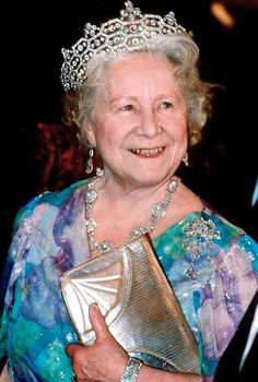 The late Queen Mother wearing the diamond encrusted Greville tiara