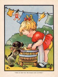 Antique print LITTLE GIRL washing clothes 1940s vintage children's illustration nursery decor girl