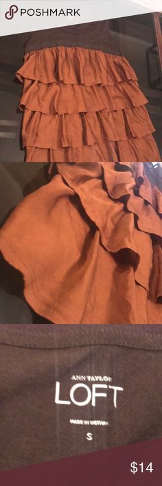 Anne Taylor size small brown flowy shirt Never worn - this is a size small, flowy sleeveless shirt from anne Taylor loft .. open to offers and bundles LOFT Tops Tank Tops