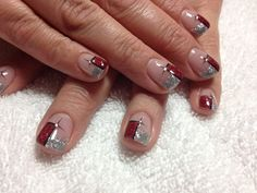 Red and silver glitter gel with black lining and rhinestone#christmas#winter#trends#fashion#beauty