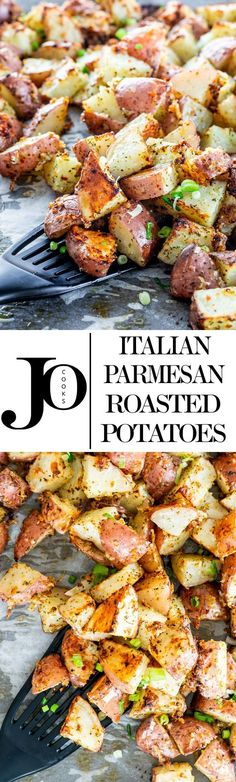 These Italian Parmesan Roasted Potatoes are so full of flavor and deliciousness perfectly crispy and cheesy! They truly are the perfect side dish! All you have to do is enjoy them. via Jo Cooks Savoury Dishes, Vegetable Dishes, Vegetable Recipes, Food Dishes, Side Dishes, Potato Dishes, Potato Recipes, Parmesan Roasted Potatoes, Crispy Potatoes