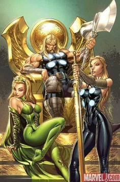 Thor, Amora and Valkyrie.