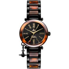 Vivienne Westwood Orb Dark Watch ($295) ❤ liked on Polyvore featuring jewelry, watches, 2 tone watches, charm jewelry, tortoise jewelry, swiss quartz watches and digital wrist watch