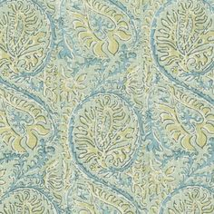 Elizabeth Hamilton Collection - Shangri-La/Linen - Aqua (SL-1001-101)