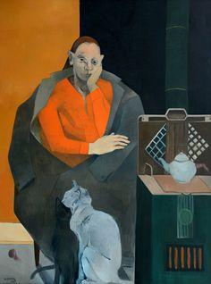 Neşe Erdok, Bekleyiş, 180x132 cm, 1987 Art Nouveau, Art Deco, Bernard Shaw, Art Station, Orient, Figure Painting, Figurative Art, Traditional Art, Contemporary Artists
