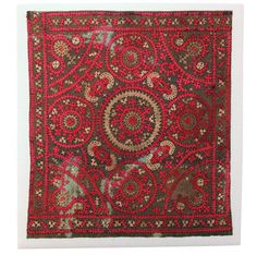 Armanian Embroidery Textile Mounted, late 19th century; With frame: 27in. x 30in.; Textile: 24in. x 27in.