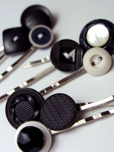 """""""Licorice Buttons"""" Vintage Button Bobby Pins!"""