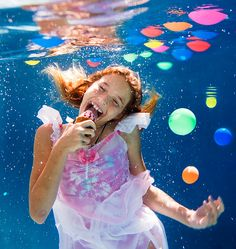 Eating ice cream underwater, enjoying watermelon,playing with the balloons,can you do all this underwater? Yes, you can! And it is a lot of fun,joy, laughter and happiness. Children are natural models and if they are interested in subject they are best..