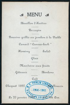 Menu card from a dinner hosted by Consuelo Vanderbilt's aunt Mrs. W. D. Sloane (Emily Thorn Vanderbilt) at 642 Fifth Ave. (20 Jan 1899) | menu