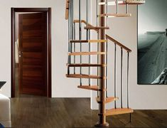 wooden stairs with metal stair parts