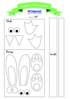 Easter Bunny & Chick Template http://www.trimcraft.co.uk/articles/half-term-easter-crafting-for-kids-with-our-bunny-chick-sweet-holder-templates