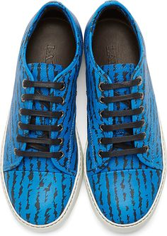 Leather Zebra Print Sneakers in blue by Lanvin. Low top sneakers in electric…