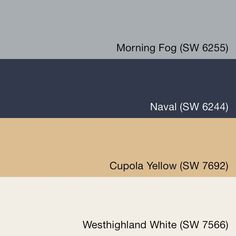 SwatchDeck   Pottery Barn   Sherwin Williams  - I like the top color - the morning fog and I had already picked out the cupalo yellow for another room.