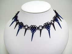 chainmaille necklace, spike necklace, chainmaille choker, sexy, spiked, gothic necklace, gothic jewelry.. $30.00, via Etsy.