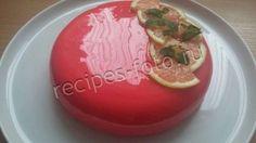 Клубнично-лимонный муссовый торт с зеркальной глазурью
