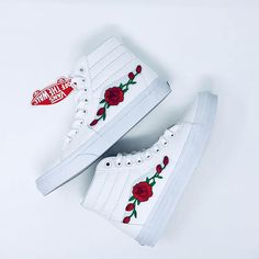 Shop with Confidence all shoes 100% AUTHENTIC! 100% brand new with tags. True white High-top vans. Comes in original vans box. Patch work is done by professionals, not stitched. We take pride in the quality of our product, and roses will not fall or decay over time! Sk8-Hi vans with