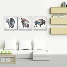 Bear and Yak Animals Canvas Print Wall Art Kitchen Giclee Decor Picture Framed #KandN #Modernism