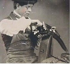 Occupational photograph of a harness maker, ca. 1850-1890.