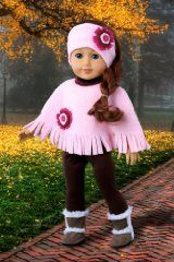 Pink Poncho - Pink fleece poncho, matching headband, brown leggings and brown sherpa boots - Clothes for 18 inch Dolls