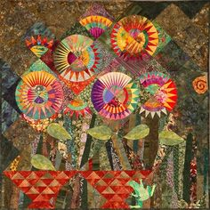 Sunflowers on the Dark Side of the Moon by Ana Buzzalino Circle Quilts, Strip Quilts, Quilting Tutorials, Quilting Designs, Quilt Design, New York Beauty, Flower Quilts, Art For Art Sake, Textile Art