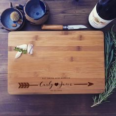 A beautiful solid bamboo cutting board / chopping block lovingly engraved with…