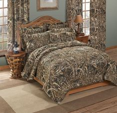 WHITE CAMO COMFORTER 7 PC BLACK SHEET SET QUEEN SIZE CAMOUFLAGE CABIN HUNTING