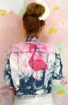 Marbled bleached denim jacket with flamingo.