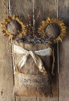 Primitive Grungy Burlap Hanging Bag with by OldAtticPrimitives