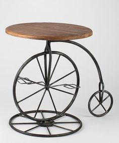Look at this Wood & Metal Old-Fashion Bicycle Table on #zulily today!