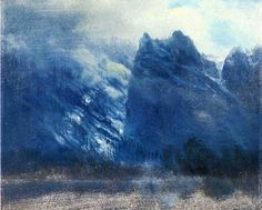 YOSEMITE VALLEY TWIN PEAKS WINTER BLUE LANDSCAPE CANVAS GICLEE POSTER ART PRINT #Realism