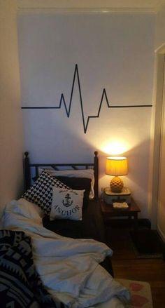 Heartbeat Monitor Washi Tape Wall Decoration In Bedroom. Heartbeat Monitor Washi Tape Wall Decoration In Bedroom. Heartbeat Monitor Washi Tape Wall Decoration In Bedroom. Masking Tape Art, Tape Wall Art, Washi Tape Wall, Duct Tape, Decoration Bedroom, Diy Wall Decor, Home Decor, Wall Decorations, Vinyl Decor
